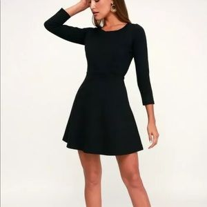 Felicity Black Backless Lace Skater Dress